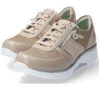 Sano by Mephisto IZAE Sneaker for Women - Light taupe leather & suede - Wide Fit