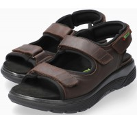 Sano by Mephisto WILFRIED Leather Sandal for Men - Wide Fit - Dark Brown
