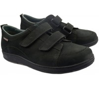 Mobils by Mephisto BERIZIO Velcro Shoes for Men - Black Nubuck      WIDE FIT
