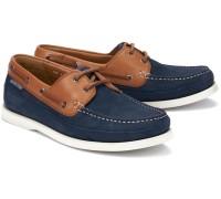 Mephisto BOATING Men's Lace-up Boat Shoes - Navy Blue Nubuck