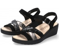 Mobils by Mephisto Pietra Women Sandal Suede - Black - WIDE FIT