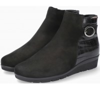 Mobils by Mephisto NELCIA Leather & Nubuck Leather Ankle Boots for Women - Wide Fit - Black