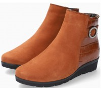 Mobils by Mephisto NELCIA Leather & Nubuck Leather Ankle Boots for Women - Wide Fit - Hazelnut