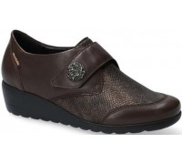 Mobils by Mephisto Branda Leather & Textile Shoe With Velcro Strap - Wide Fit - Dark Brown
