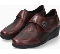 Mobils by Mephisto Branda Leather & Textile Shoe With Velcro Strap - Wide Fit - Chianti