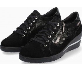 Mobils by Mephisto Patsy Shiny Suede & Leather Sneaker for Women - Wide Fit -  Black