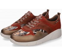 Mobils by Mephisto Imania Leather, Patent Leather & Suede Sneaker for Women - Wide Fit - Sand Red