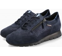 Mobils by Mephisto Donia Leather, Suede & Nubuck Lace-Up Shoes For Women - Wide Fit - Blue