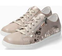Mobils by Mephisto Hawai Shiny Smooth Leather Sneaker for Women - Wide Fit - Beige