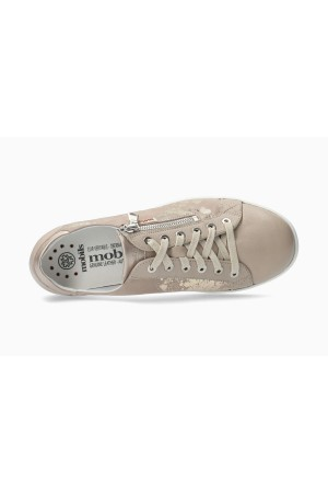 Mephisto Hawai Shiny Smooth Leather Sneaker for Women - Beige