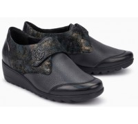 Mobils by Mephisto Branda Leather Shoe With Velcro Strap - Wide Fit - Black