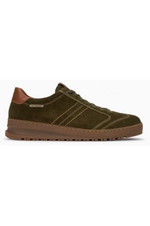 Mephisto Jumoer smooth leather suede lace up shoes for men green