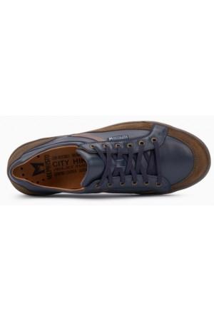 Mephisto RODRIGO leather navy blue lace shoe for men