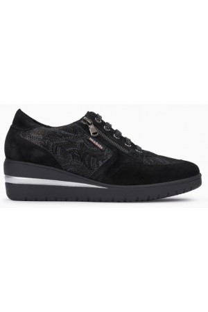 Mobils by Mephisto PATRIZIA black leather lace shoe for women with WIDE FEET