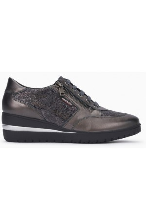 Mobils by Mephisto PATRIZIA grey leather lace shoe for women with WIDE FEET
