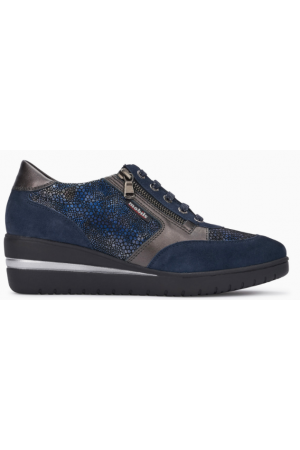 Mobils by Mephisto PATRIZIA blue leather lace shoe for women with WIDE FEET