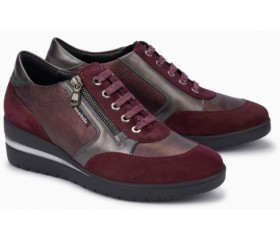 Mobils by Mephisto PATRIZIA red leather lace shoe for women with WIDE FEET