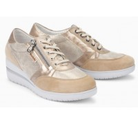 Mobils by Mephisto PATRIZIA beige leather lace shoe for women with WIDE FEET