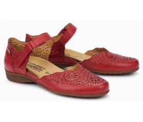 Mephisto Florina perf leather pumps red
