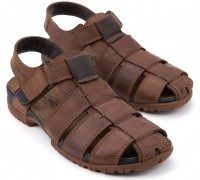 Mephisto BASILE chestnut brown leather sandals for men