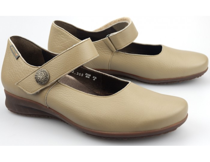 Wide Shoes Dark Brown Leather With Velcro Strap Women