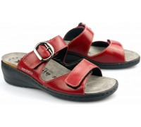 Mobils by Mephisto JULIA red leather WIDE FIT slipper fr women with REMOVABLE INSOLE