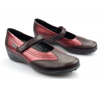 Mephisto LEIDINA chianti red leather shoe for women with velcro closure