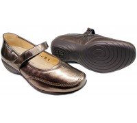 Mobils by Mephisto VEDIS grey patent leather wide fit women shoe with velcro