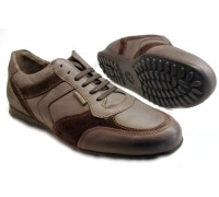 Mephisto CYRIAC dark grey leather and dark brown suede combi sneaker for men