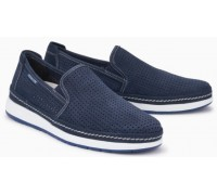 Mephisto Hadrian Perf blue leather slip-on shoe for men