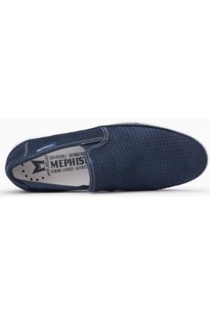 Mephisto Hadrian Perf blue leather slip-on shoe for men
