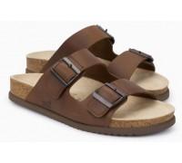 Mephisto Cedar leather sandals for men dark brown