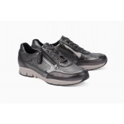 Mephisto Ylona grey leather lace shoe women