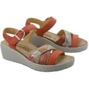 Mephisto Pietra Women Sandal Suede - Orange/Brown WIDE FIT