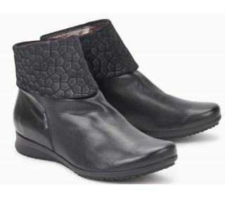 Mephisto FIDUCIA black leather ankle boots with textile upper