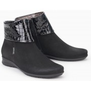 Mephisto FIDUCIA black nubuck leather ankle boots with croco upper