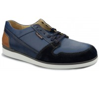 Mobils by Mephisto BARNEY - men's lace-up shoe - navy blue leather suede   EXTRA WIDE