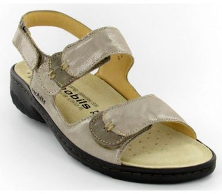 Mobils by Mephisto GETHA camel beige patent leather WIDE FIT sandal for women