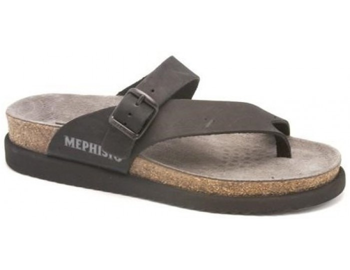 fcf82bb6076b Mephisto HELEN black leather sandal for women