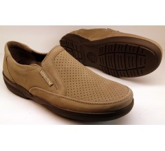 Mephisto ADELIO PERF camel nubuck slip-on shoes for men with perforations