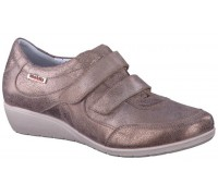 Mobils by Mephisto JENNA taupe vintage leather shoe with double velcro for women with WIDE FEET