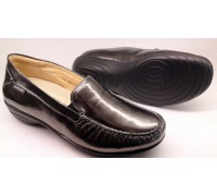 Mobils by Mephisto VEFA dark grey patent leather wide fit slip-on women shoes
